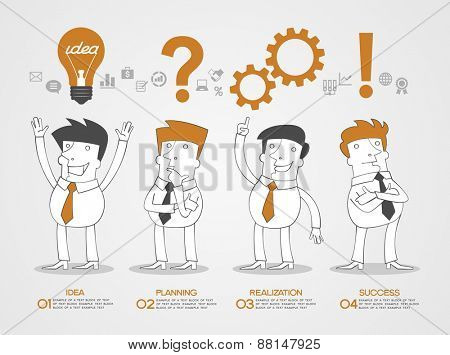 Concept design business idea, planning, realization and success. Business infographic background. Sc