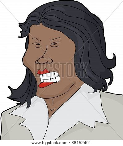 Furious flinching female with clenched teeth over white stock photo