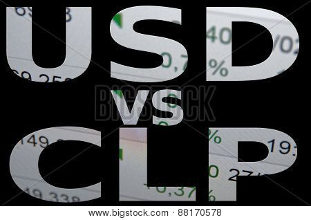 US dollar versus Chilean peso (CLP). Financial background. Trading terminal. stock photo