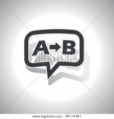 Curved chat bubble with letters A, B and arrow and shadow, on white stock photo