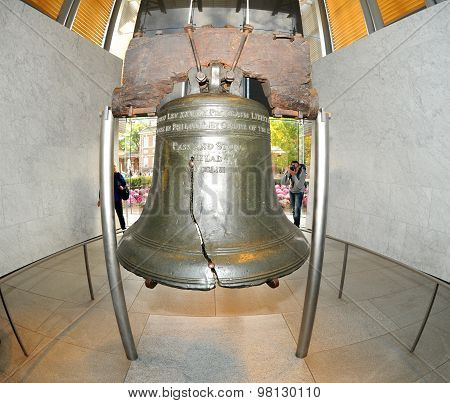 The Liberty Bell, The Symbol Of American Freedom Through A Fisheye Lens stock photo