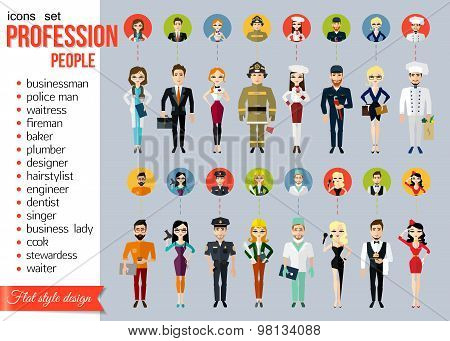 Profession people and avatars collection. Cartoon different characters and different clothes. Doctor