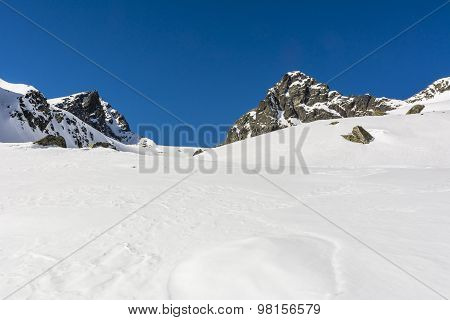 Raw mountain climate in the winter in Tatra Mountains stock photo