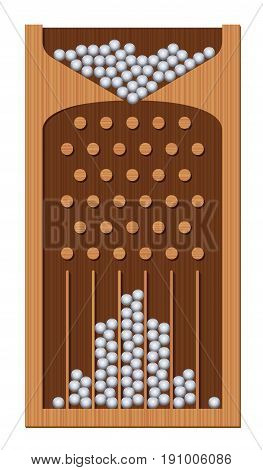 Bean machine, Galton board, wooden textured, iron balls - generating Gaussian bell curve. Education and science tool for mathematics and physics. Isolated vector illustration. stock photo