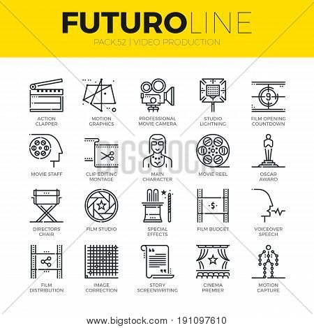 Unique thin line icons set of video studio production motion effects. Premium quality outline symbol collection. Modern linear pictogram pack of metaphors. Stroke vector logo concept for web graphics. stock photo