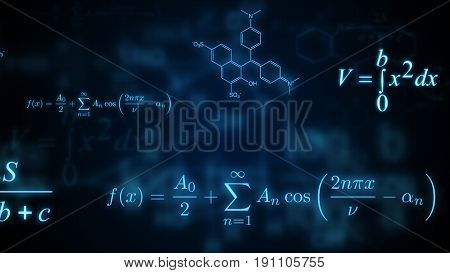 Glowing mathematical physical and chemical formulas. Illustration stock photo