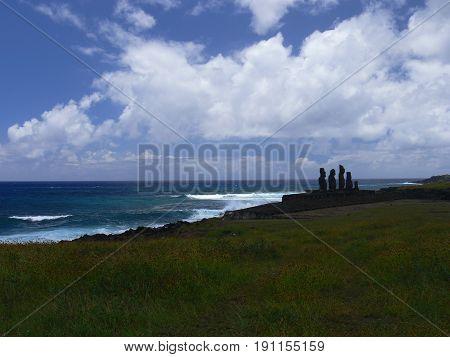 Moai at Ahu Tongariki (Easter island Chile) stock photo