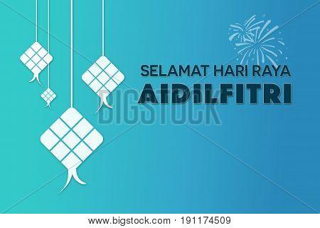 Selamat Hari Raya Aidilfitri greetings (Eid Mubarak greetings in Malay) with copy space stock photo