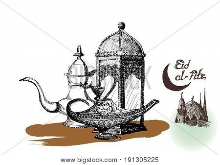 Ramadan Kareem Iftar party celebration, Eid Al Fitr Mubarak, Hand Drawn Sketch Vector illustration stock photo