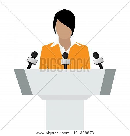 Vector illustration woman orator speaking from tribune. Business woman in orange suit. Speaker person. Conference speaker. Podium speech. Speaker podium stock photo