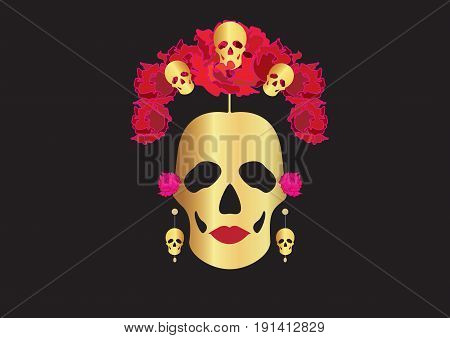 gold skulls, portrait of Mexican Catrina with skulls and flowers , inspiration Santa Muerte in Mexico and la Calavera , vector illustration isolated or black background