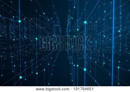 Technological connection futuristic shape, blue dot network, abstract background, blue background, Concept of Network, internet communication, 3D rendering