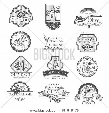 Olive oil and olives icons for Italian cuisine badges restaurant or product labels. Vector set of extra virgin olive oil bottles and drops or jars with ribbons for organic cooking oils or farm market stock photo