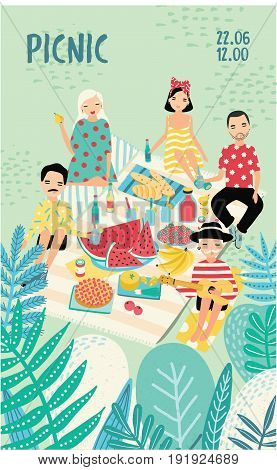 Vertical advertising poster on a picnic theme. Illustration with young trendy people, friends, relax outdoors. Bright placard in cartoon style with place for text. Colorful vector, recreation scene
