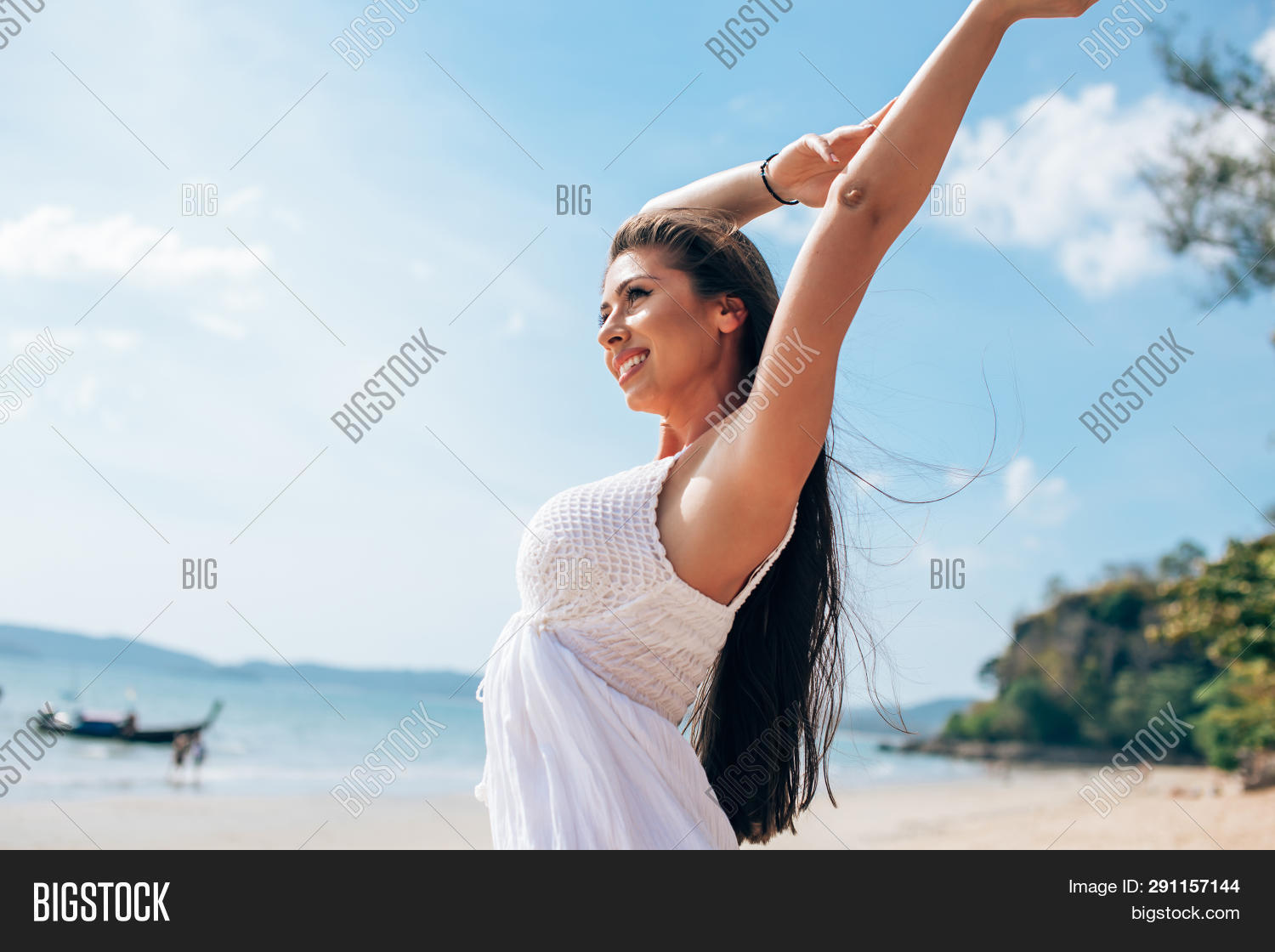 Carefree Young Woman Relaxing On Sunny Day At The Beach, Carefree Young Woman Relaxing On Sunny Day