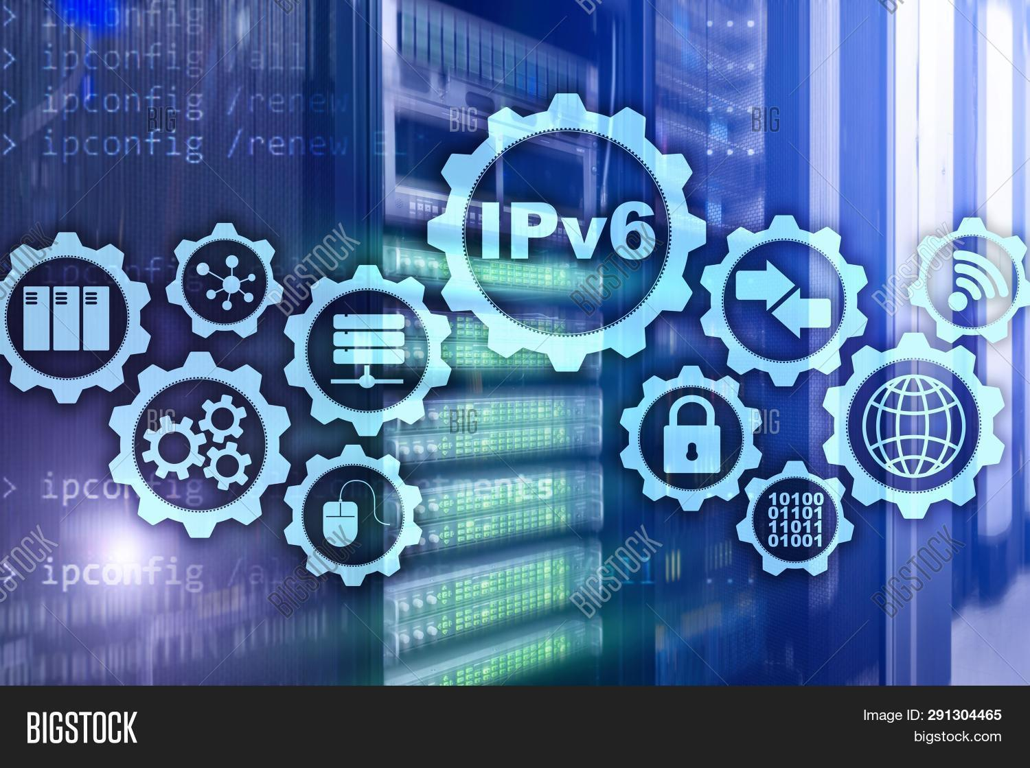 Ipv6 Internet Protocol On Server Room Background. Business Technology Internet And Network Concept