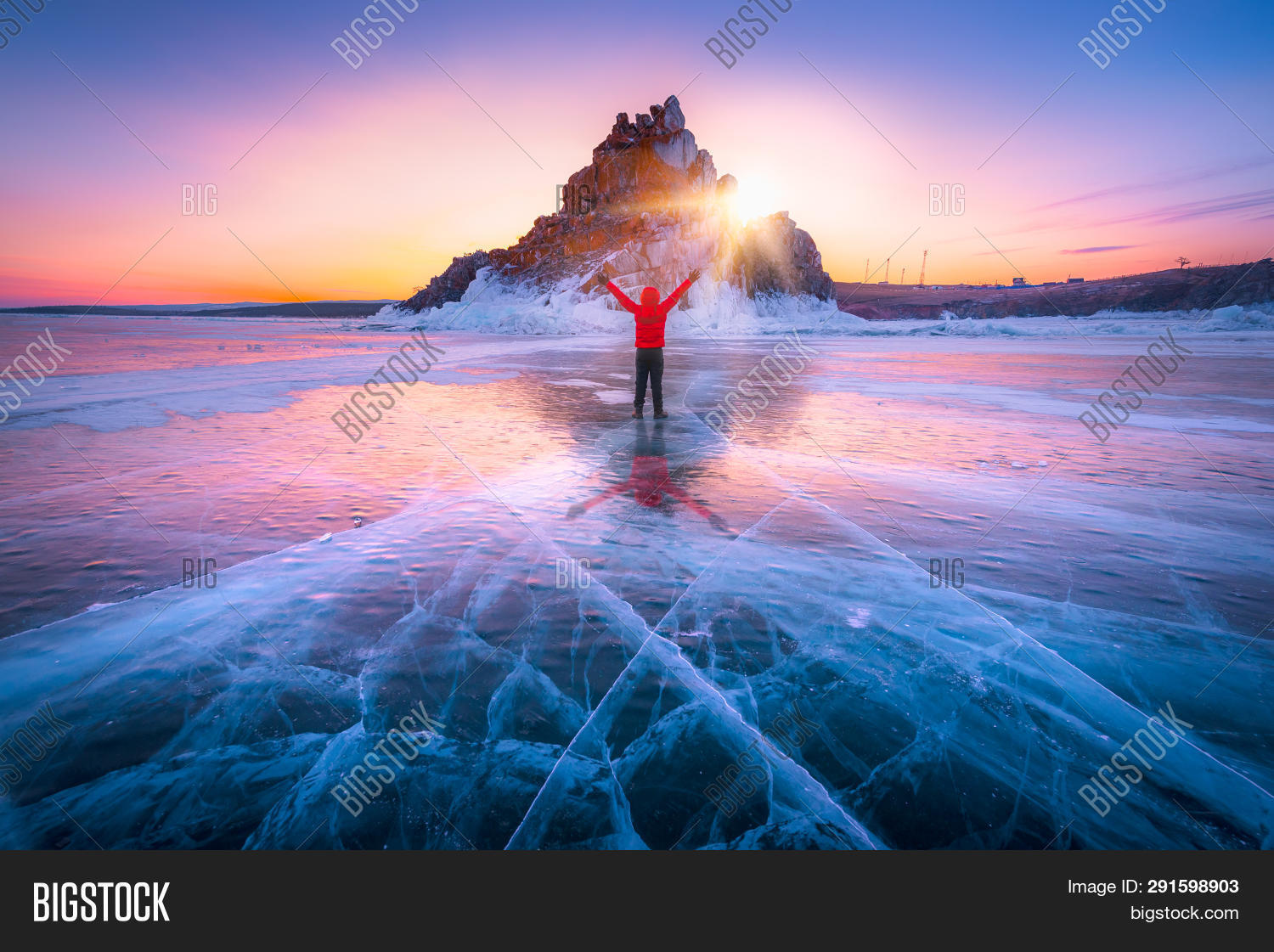 Traveller Man Raise Up Hand Freedom And Enjoy View Of Beautiful Landscape Natural Breaking Ice In Fr