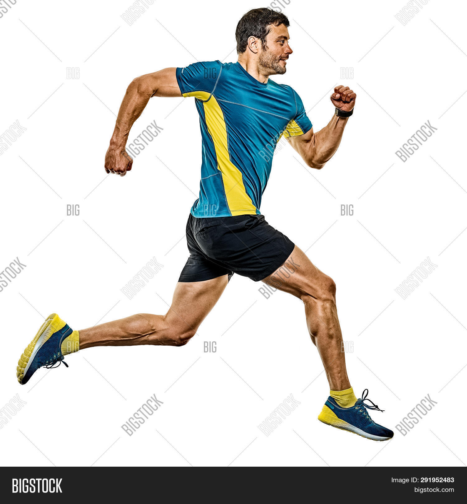 actions,adult,athlete,caucasian,cut out,european,full length,handsome,isolated,jogger,jogging,male,man,mature,muscles,muscular,one,one person,people,profile,runner,running,side view,smile,smiling,sport,studio shot,white background