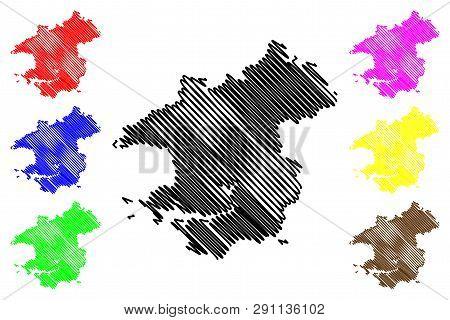 Pembrokeshire (United Kingdom, Wales, Cymru, Principal areas of Wales) map vector illustration, scribble sketch Pembrokeshire map stock photo