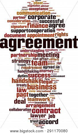 Agreement word cloud concept. Collage made of words about agreement. Vector illustration stock photo