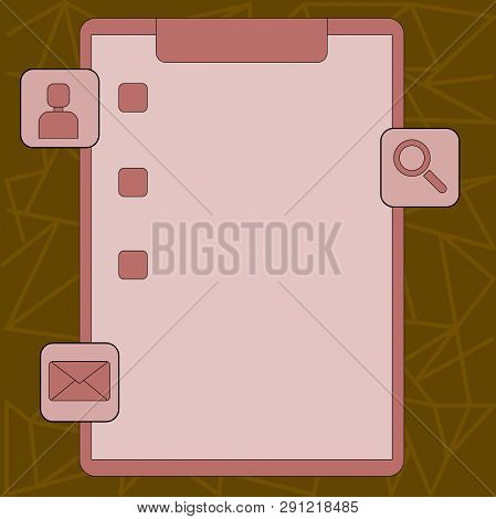 Colorful Clipboard with Tick Box and Three Apps Icons, Magnifying Glass, Chat Head, Envelope. Creative Background Idea for Assessment Checklist, Reminder, Updates and Notification. stock photo