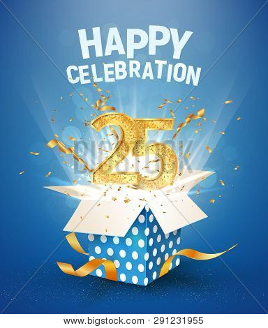 25 th years anniversary and open gift box with explosions confetti. Isolated design element. Template twenty five birthday celebration on blue background vector Illustration stock photo