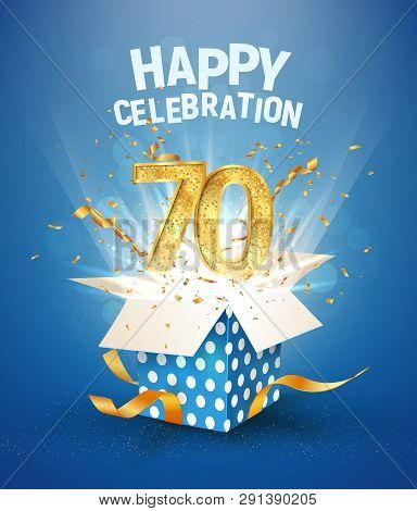 70 th years anniversary and open gift box with explosions confetti. Isolated design element. Template seventy birthday celebration on blue background vector Illustration stock photo