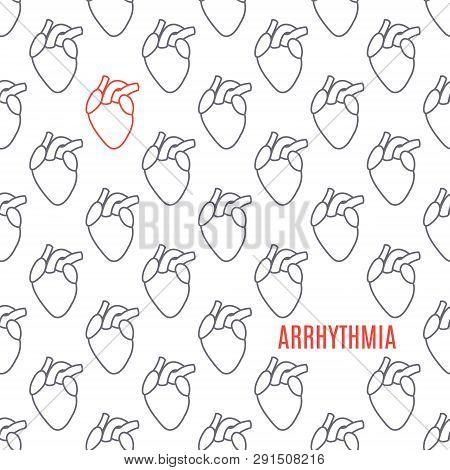 Arrhythmia heart icon patterned poster on white background stock photo