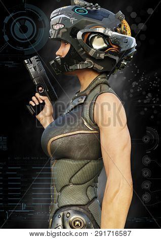Portrait side view of a futuristic female warrior with digital effect elements. 3d rendering stock photo