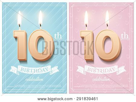 Burning Number 10 Birthday Candles With Vintage Ribbon And Birthday Celebration Text On Textured Blu