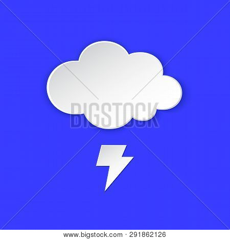 Thunderstorm Weather forecast icon. Lightning bolt, Thunderbolt and Cloud symbol paper style. Climate weather element. Trendy button for Metcast report mark, meteo mobile app, web. stock photo
