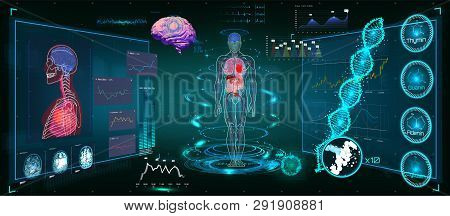 Medical Infographic HUD. Health and healthcare icons and Structure of human organs. Medical Infographic (Heart, lungs, stomach, kidney and human brain in 3D) Body Scanning (Sci fi, Ui, HUD elements) stock photo
