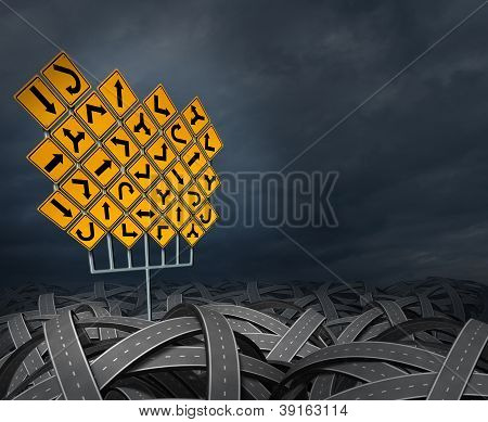 Strategy direction decisions searching for the right path for business career and education as a life management concept with a group of yellow traffic signs with confused arrows tangled roads and highways in a chaotic path. stock photo