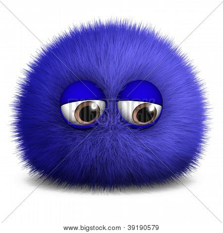 3 d cartoon cute furry ball monster stock photo