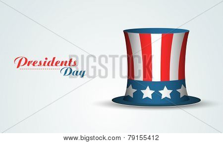 Glossy United State American flag color hat on shiny sky blue background for Presidents Day celebrat