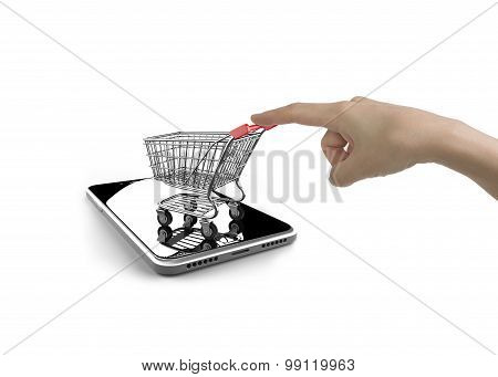 Woman forefinger pushing small shopping cart on smartphone of white screen isolated on white on line shopping concept. stock photo