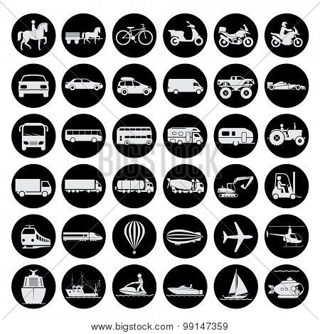 Collection of signs presenting different modes of transport on land, water and in the air. Vintage a
