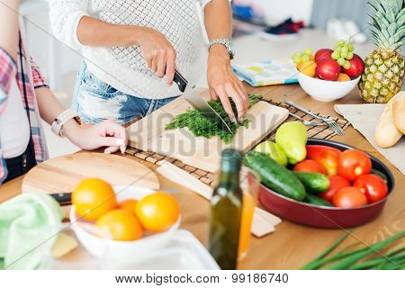 Gorgeous young Women preparing dinner in a kitchen concept cooking, culinary, healthy lifestyle.