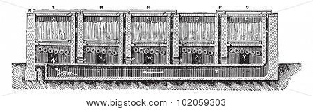 Boiler for retting flax Mr. Parsy, vintage engraved illustration. Industrial encyclopedia E.-O. Lami - 1875.  stock photo