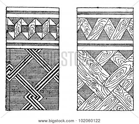 Parquet and mosaic marquetry, vintage engraved illustration. Industrial encyclopedia E.-O. Lami - 1875. stock photo