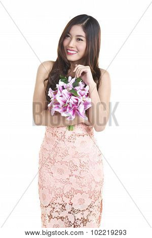 pretty asian woman on white background shoot with flower stock photo