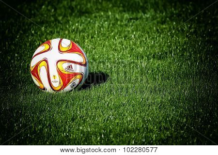 Thessaloniki Greece- June 2 2015: The ball of Paok team during team practice in Thessaloniki Greece. stock photo