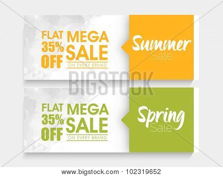 Creative website header or banner set of Mega Summer and Spring Sale with special discount offer. stock photo