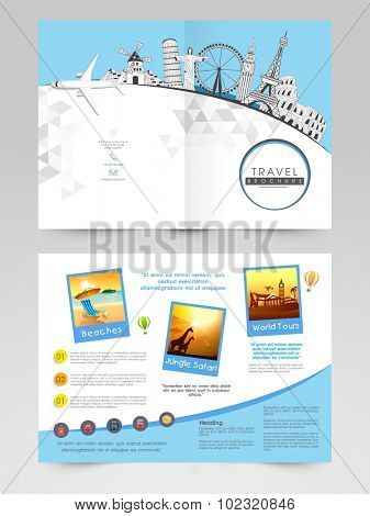 two page brochure template or flyer for travels stock images