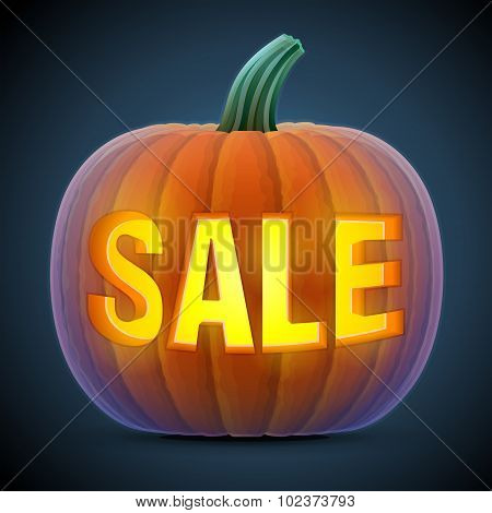 Jack-o-lantern with word SALE. Qualitative vector illustration for sale vegetables halloween agriculture discount autumn holidays olericulture etc. It has transparency masks blending modes gradients stock photo
