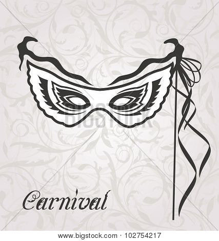 Illustration venetian carnival or theater mask with ribbons  - vector stock photo