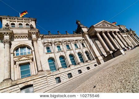Berlin Reichstag government with blue sky Germany stock photo
