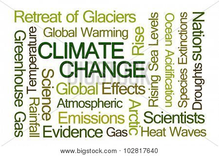 Climate Change Word Cloud on White Background stock photo