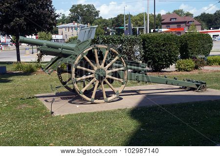 A cannon sits in front of the Grundy County Courthouse in Morris, Illinois stock photo