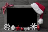 Black And White Christmas Blackboard, Red Santa Hat, Copy Space